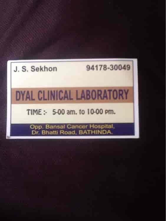 Dyal clinical laboratory, Chandsar Basti - Laboratory Testing ...