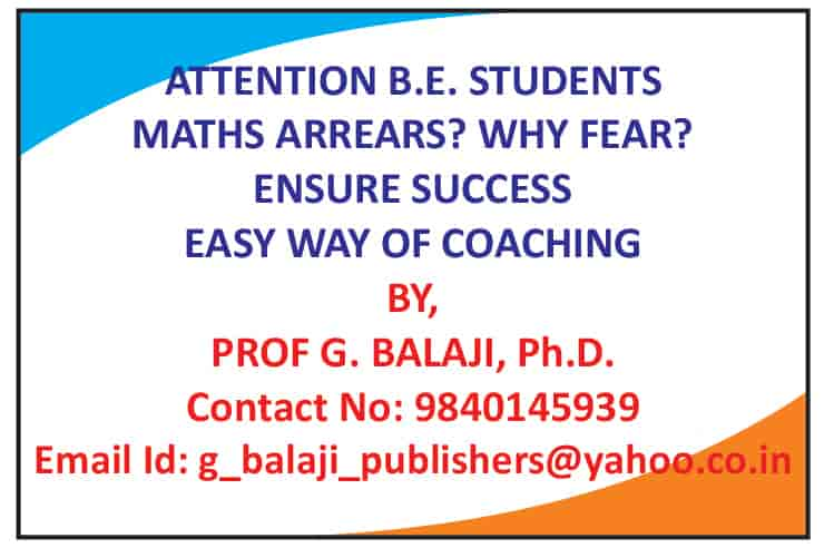 Dr  G Balaji Maths Professor, West Mambalam - Tutorials For