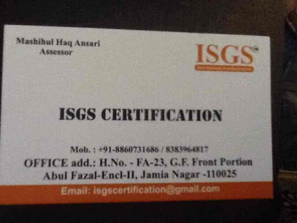 Isgs Certification Jamia Nagar Iso Certification Consultants In
