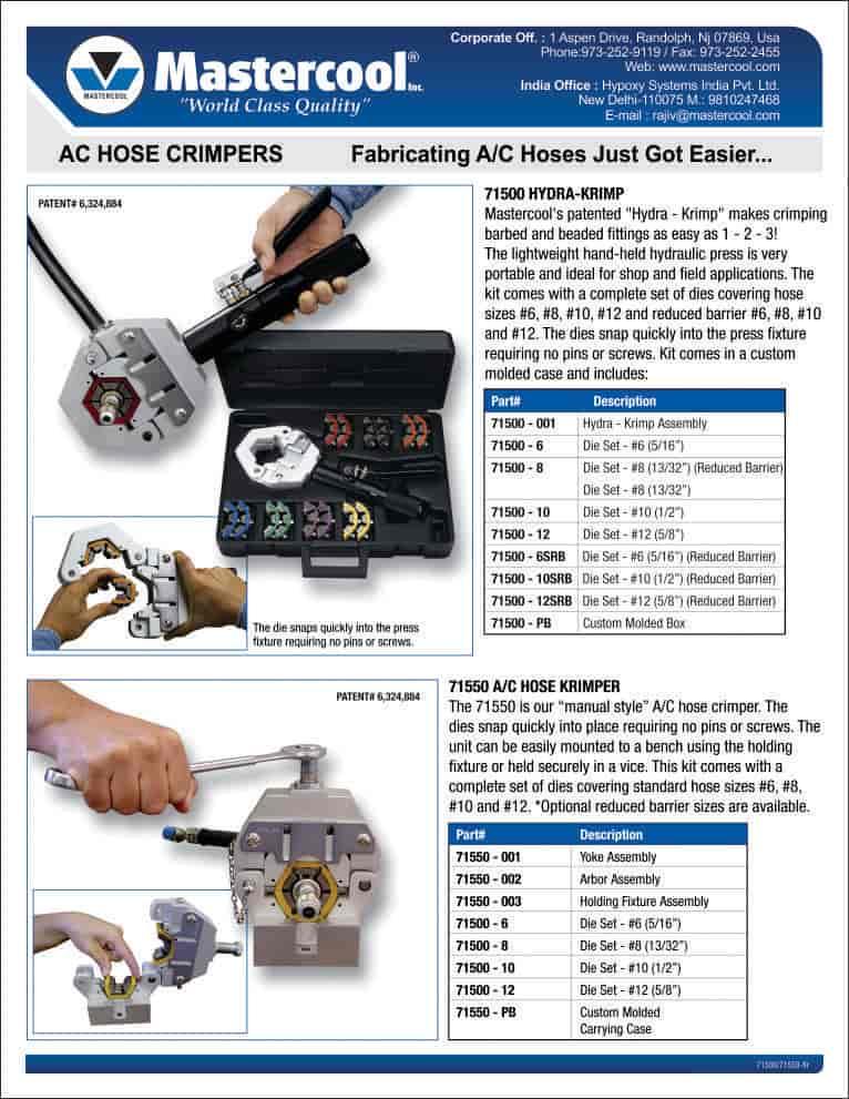Mastercool CAR AC HOSE Crimping Machine, Dwarka Sector 5