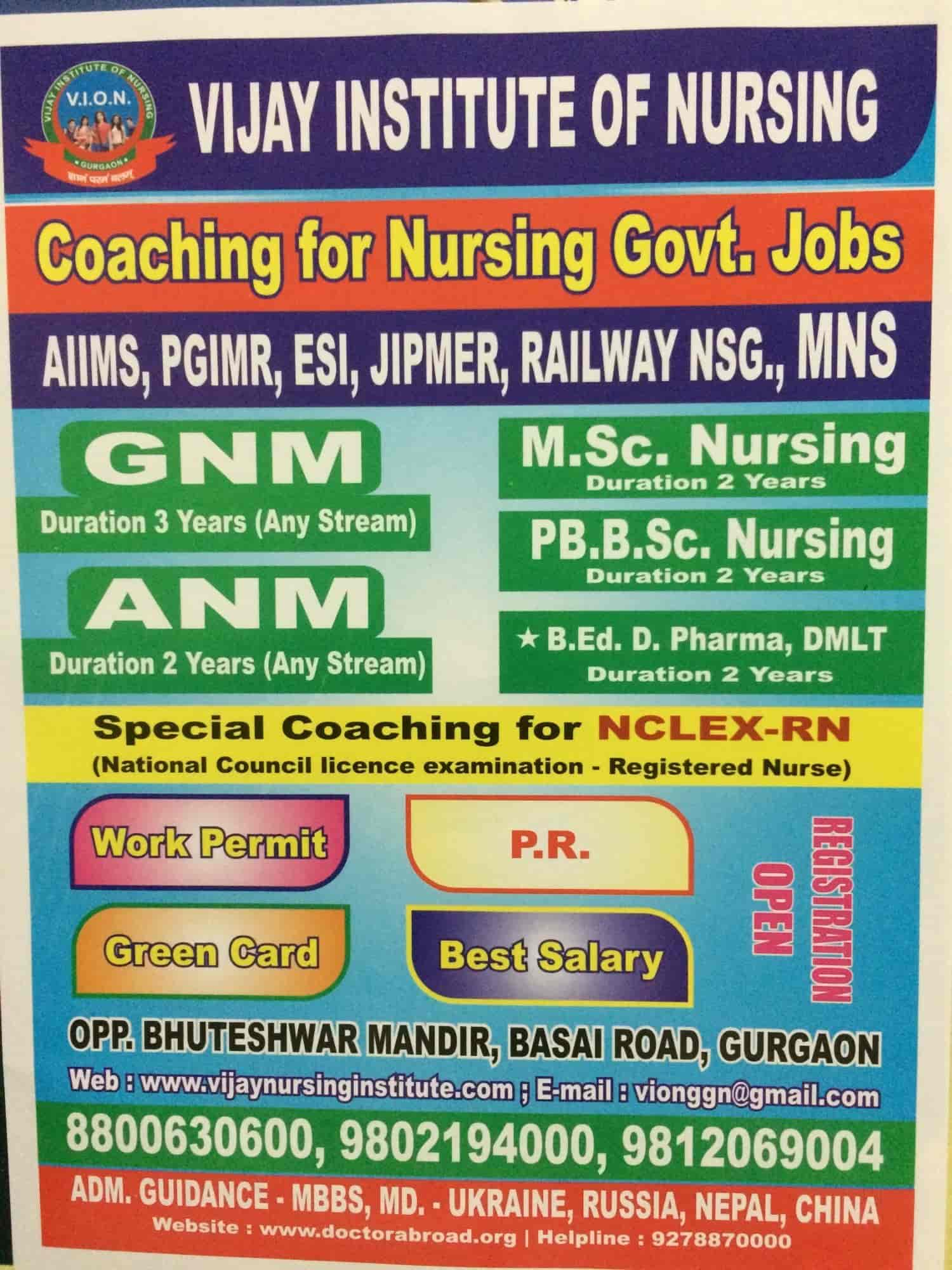 Vijay Institute Of Nursing, Basai Road - Nursing Institutes