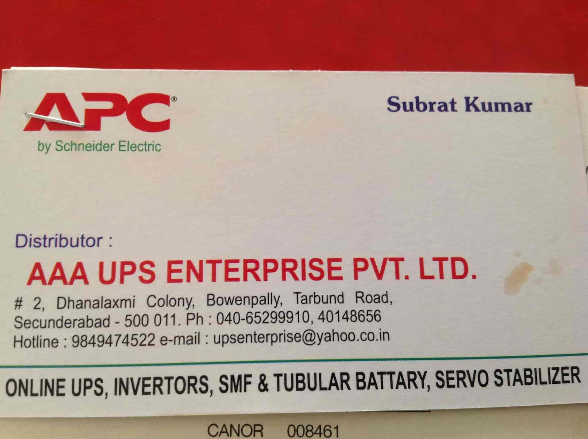 Aaa Ups Enterprise Pvt Ltd, New Bowenpally - UPS Dealers-APC