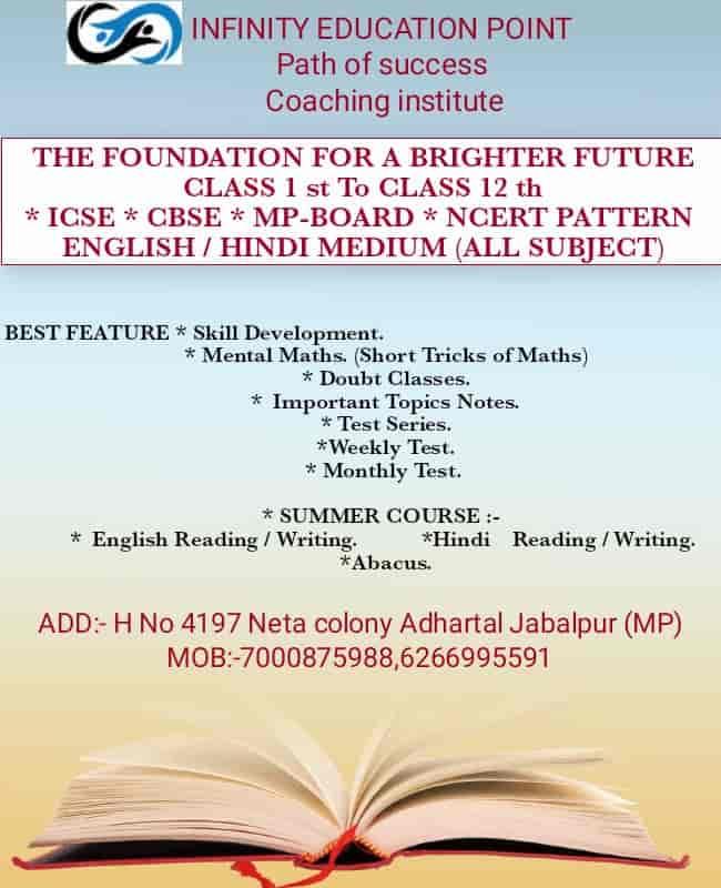 Infinity Education Point in Behind Old Milk Scheme, Jabalpur