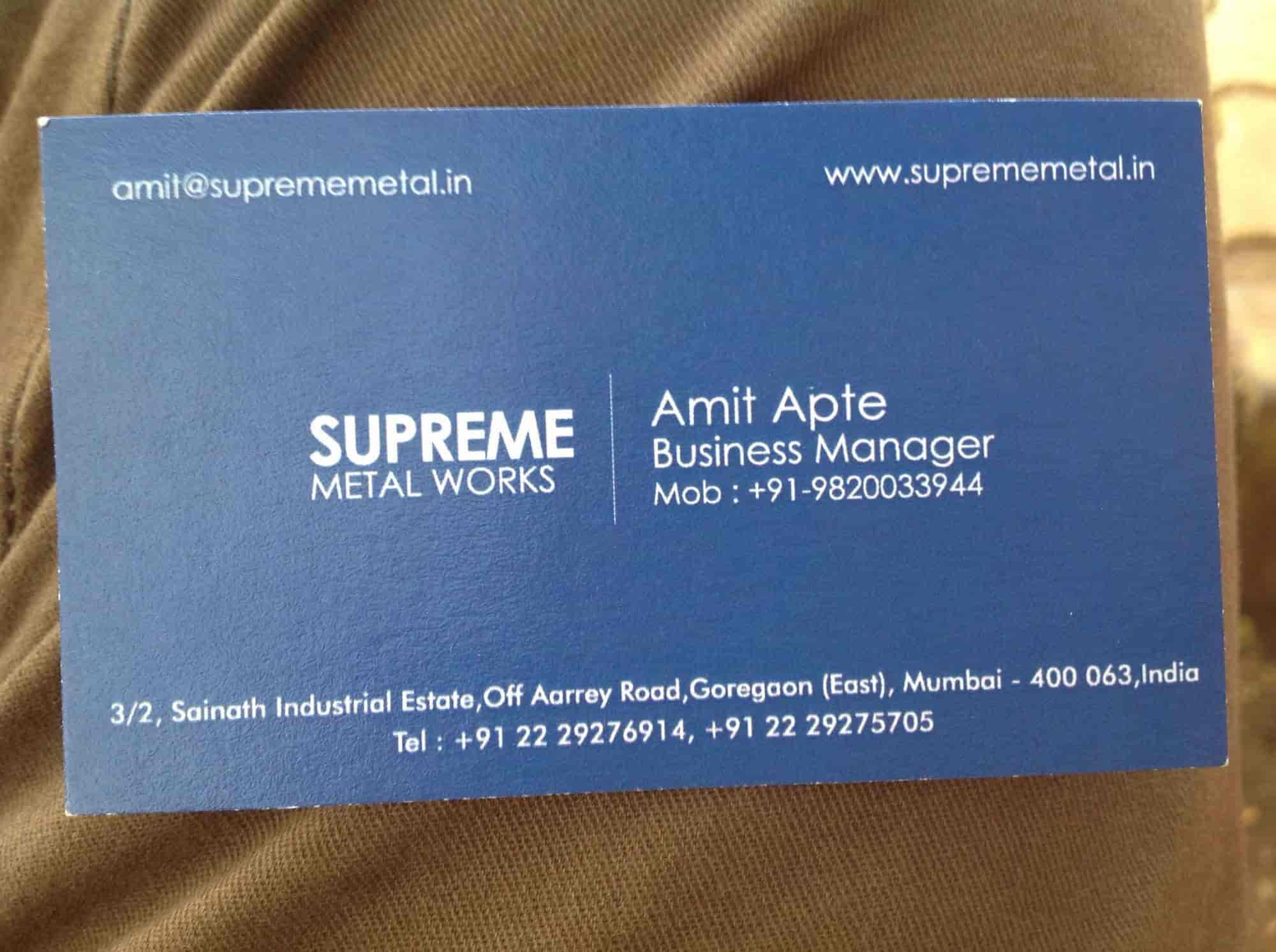 Supreme metal works photos goregaon east mumbai pictures images visiting card supreme metal works photos goregaon east mumbai cnc machine part reheart Images