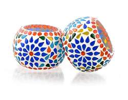 Merarki Home Decorative Glass Tea Light Candle Holders With Mosaic Design For Festival Celebration Diya For Diwali Pack Of Two