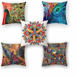 "NEW INDIAN DANCERS MULTI COLOUR HENNA  CORNERS CREAM 16/"" Pillow Cushion Cover"