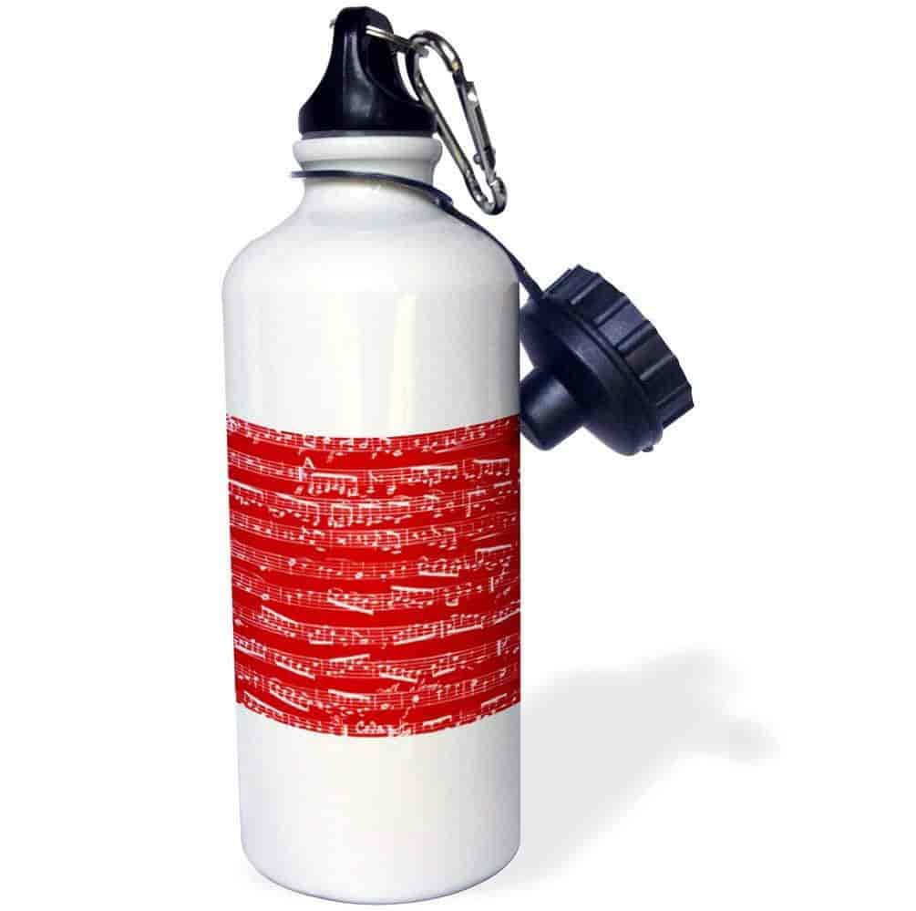 3dRose wb_151359_1 Red Musical Notes-Bold Stylish Sheet Music-Piano Notation-Modern Contemporary Musician Gifts Sports Water Bottle 21 oz White