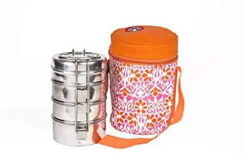 4 Tier Large Tiffin with Thermally Insulated Blue Patterned Tiffin Bag Carrier for 4-Tier Large Tiffin