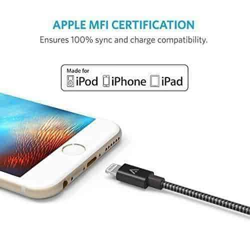 Anker Ak A7114011 Nylon Braided Usb Cable With Lightning Connector For Le Iphone 6s Plus 6 Ipad Pro Air 2 E Grey
