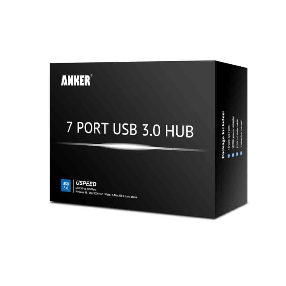 Buy Anker 7 Port Hub With 36w Power Usb 3 0 Black 68unhub B7u