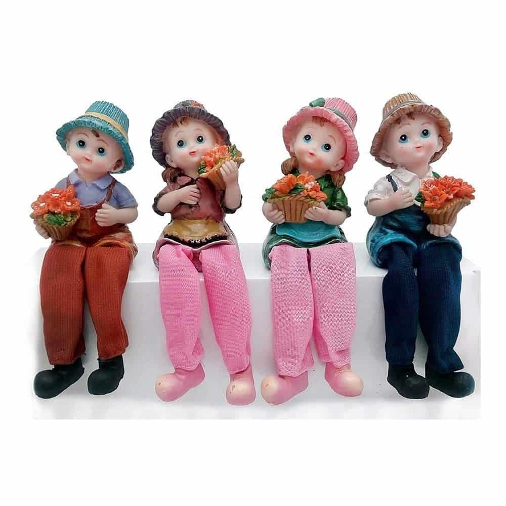 Buy Antique Look Set Of 4 Kids Love Couple Statue Showpiece Romantic