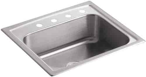 Astonishing Kohler K 3348 4 Na Toccata Single Basin Self Rimming Kitchen Sink Stainless Steel Home Interior And Landscaping Ponolsignezvosmurscom