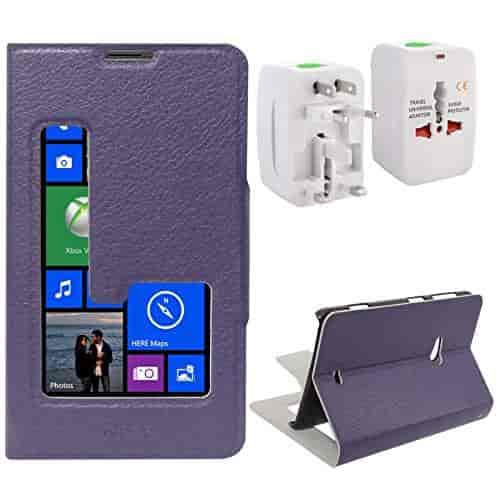DMG-Sview-Call-Case-Vip-for-Nokia-Lumia-625-(Purple)-Universal-World-Wide-Travel-Plug-Adapter