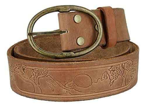 Hagora Mens Real Full Grain Leather Mythologic Tree Etched 1.75 Wide Snap Belt