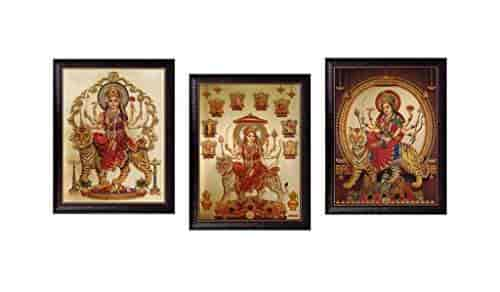 Buy Saf Durga Maa Golden Foil Painting Set Of 3 35 Cm X 2