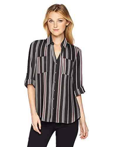 Byer Womens Tab-Sleeve Button Down Shirt A