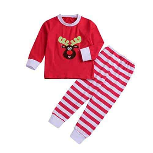 2PC Newborn Infant Baby Girl Boy Christmas Romper Tops+Pants Outfits Clothes Set