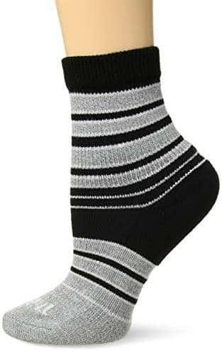 Small Thorlos Womens Shorties Thin Padded Casual Quarter Socks Pink Grey