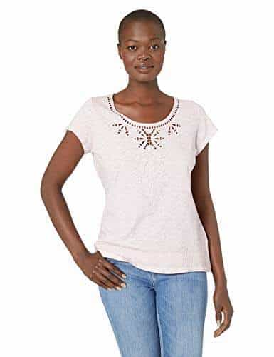 Tribal Womens Cap Sleeve Embroidered Tee
