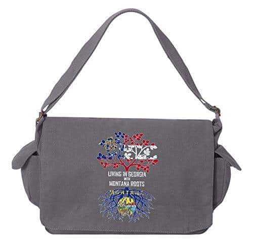Tenacitee Living In Illinois with Montana Roots Grey Brushed Canvas Messenger Bag