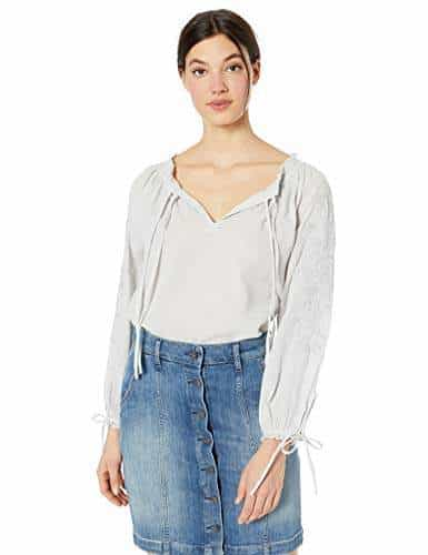 Lucky Brand Womens Plus Size Metallic Embroidery Peasant Top Shirt
