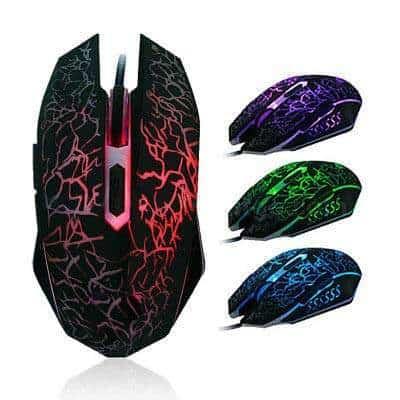 FidgetGear Ergonomic Pro Wired LED Light 4000DPI Optical USB Gamer Gaming Mouse Black