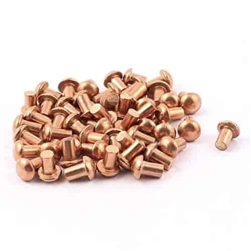 3//32 X 7//16 Round Head Copper Rivets; 100 PCS Box