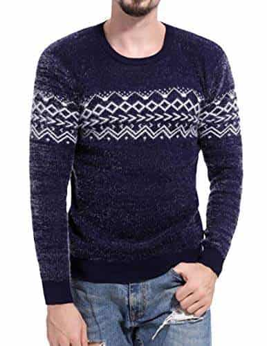 YYear Men Round Neck Print Pullover Long Sleeve Slim Fit Knitted Sweater