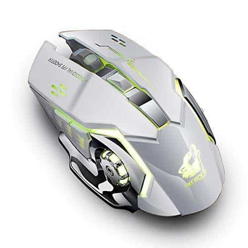 Dishykooker Rechargeable Wireless Silent LED Backlit Gaming Mouse USB Optical Mouse for PC Gray