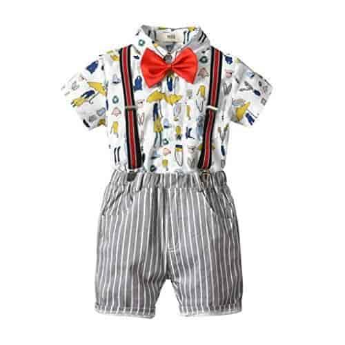 Fabal Infant Baby Boy Gentleman Suit Bow Plaid Tie Shirt Suspenders Shorts Outfit Set