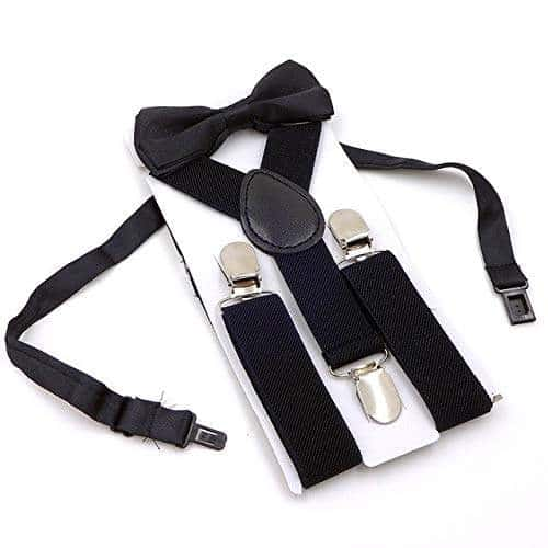 Unisex Kids Boys Girls Suspender Elastic Adjustable Clip-On Braces with Bow Tie