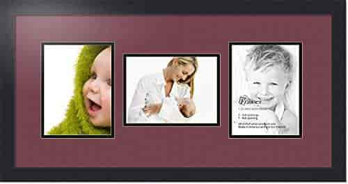 ArtToFrames Collage Photo Frame Double Mat with 3-6x8 Openings and Satin Black Frame