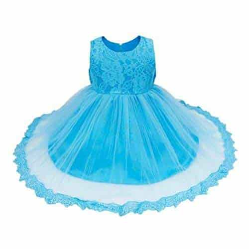 TUTU Lace Tulle Flower Girl Dress Wedding Easter Junior Bridesmaid Baptism Baby