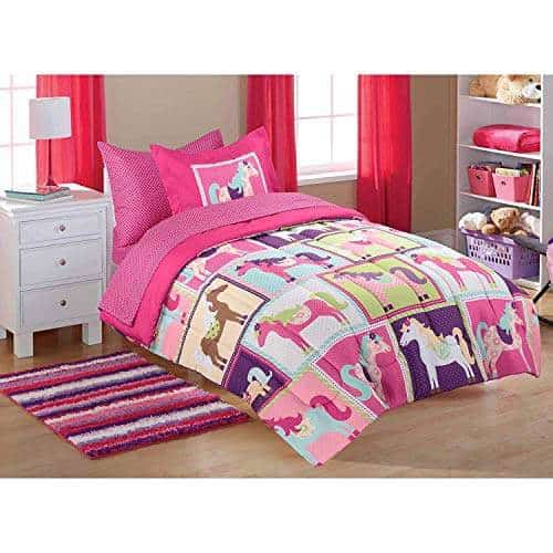 Buy Keeco Llc Mainstays Kids Pink Horsey Twin Coordinated Bed In A Bag With Matching Curtains 36443232 Features Price Reviews Online In India Justdial