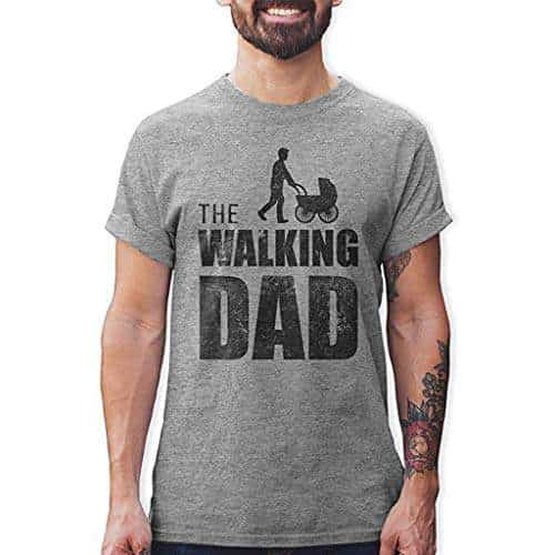 Mens Casual Printed Elastic Short Sleeve The Walking Dad T-Shirts Blouse Tops