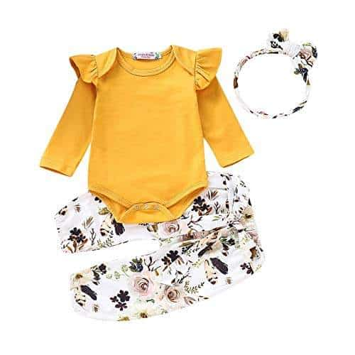 Newborn Baby Girls Floral Romper Tops Jumpsuit Long Pants Headband Outfits Sets