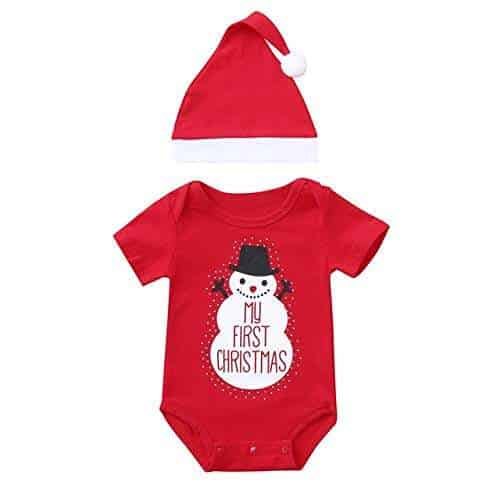 2Pcs Newborn Baby Boys Girls Christmas Costume Bodysuit Romper Hat Set Clothes
