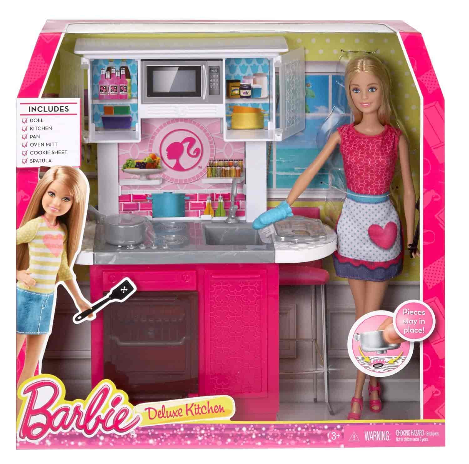 Buy Barbie Doll And Deluxe Kitchen Set Multi Colour Features