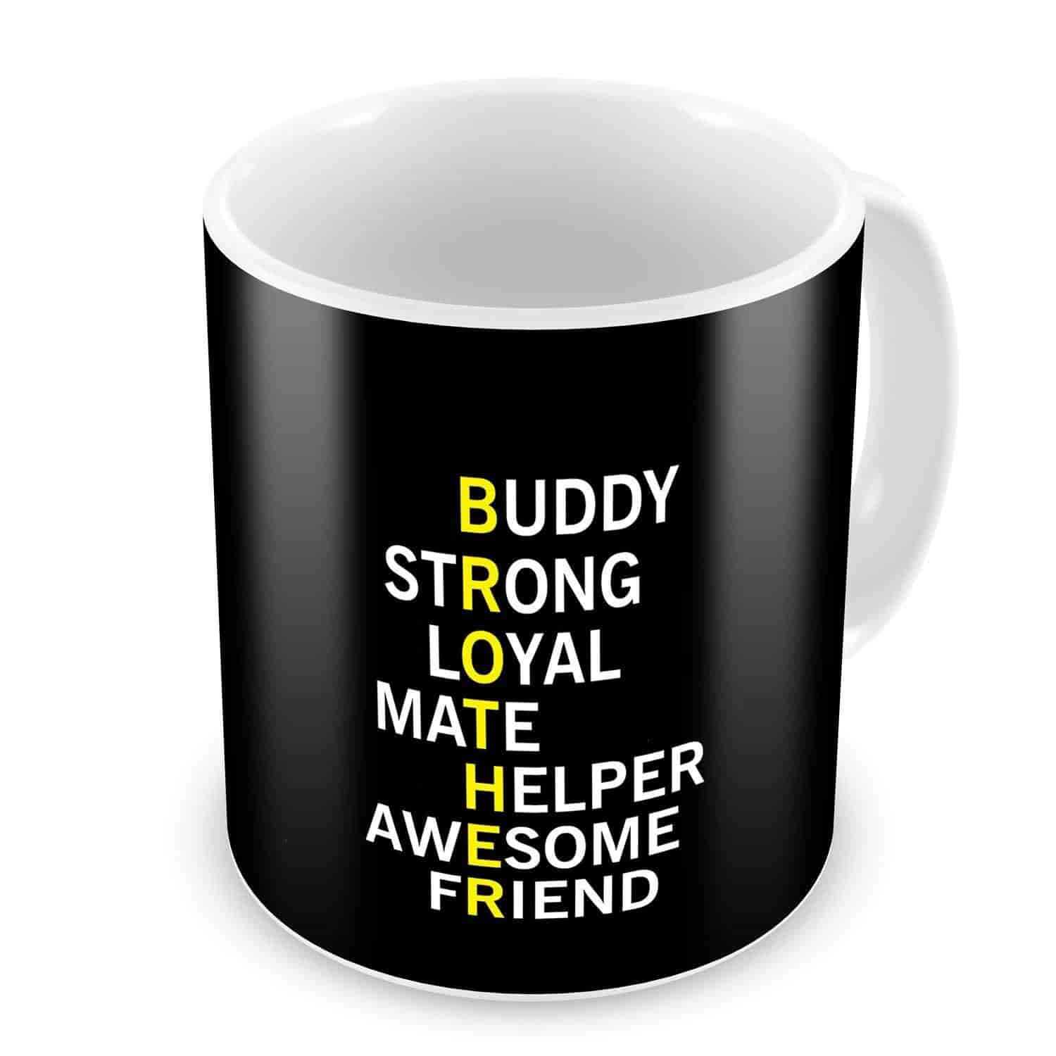 Bhaidooj Happy Diwali Gift Brother Meaning Black Printed Best Quality Ceramic Mug Festive Memories Christmas