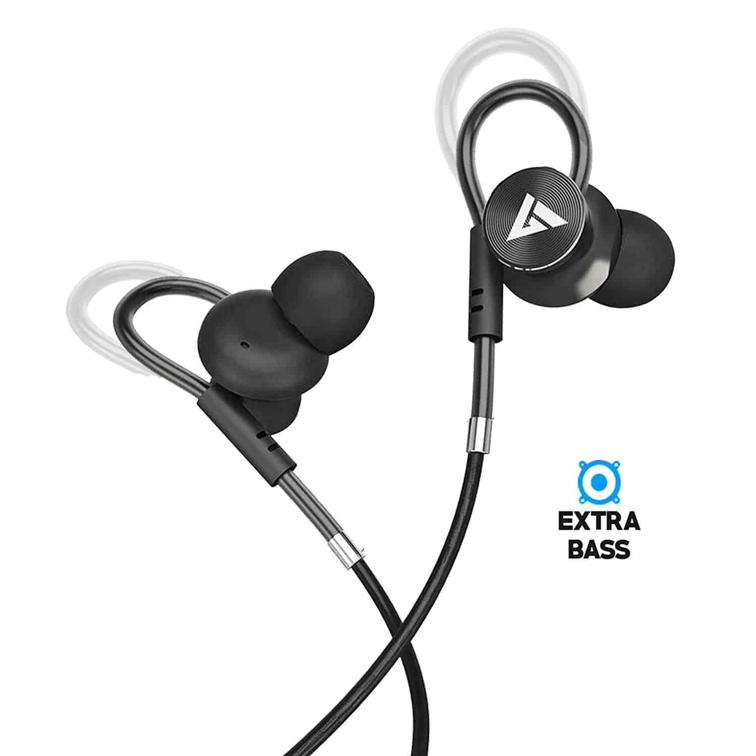 Image result for Boult Audio BassBuds Loop in-Ear Wired Earphones with Mic and Deep Bass, HD Sound Mobile Headset with Noise Cancellation and Customizable Ear Loop (Black)