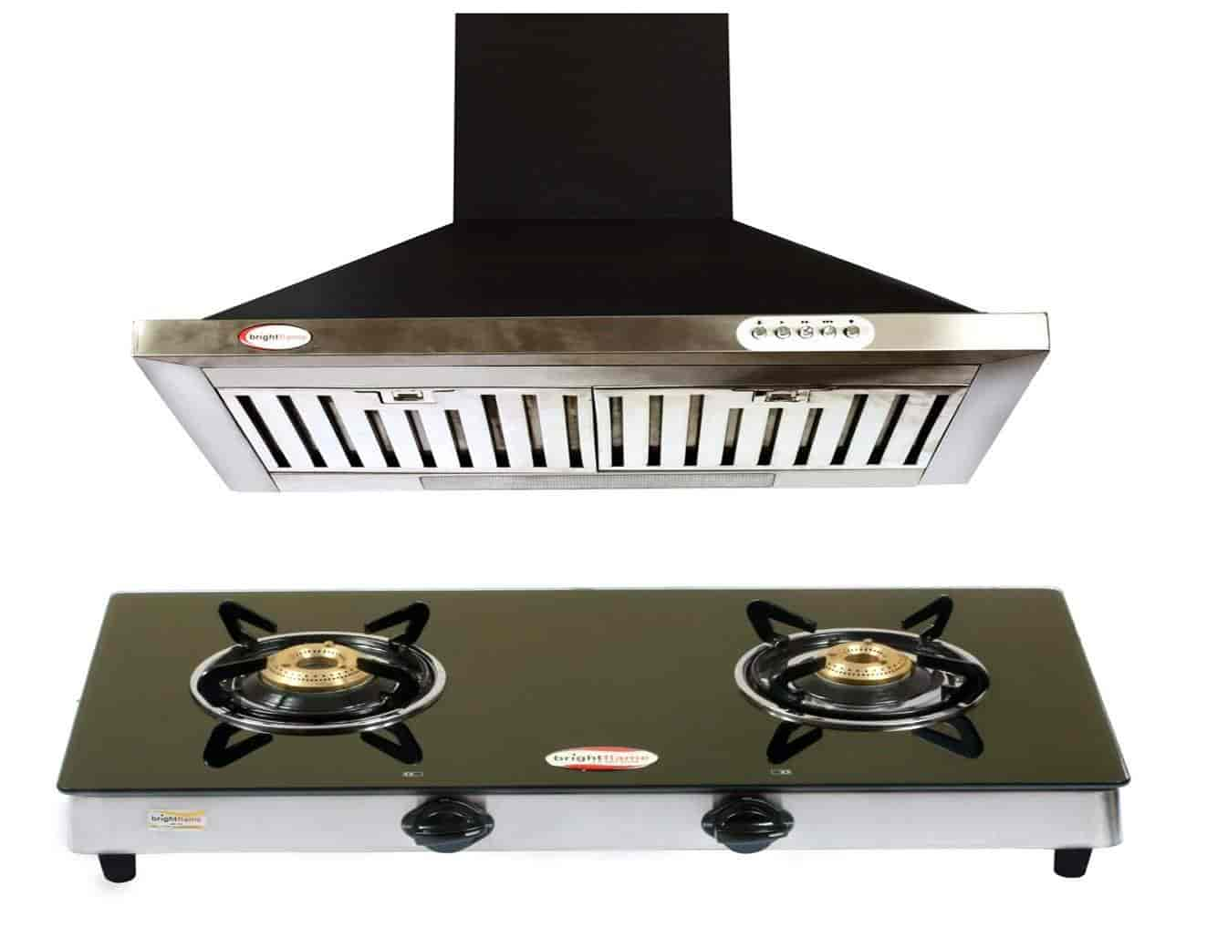 Bright Flame 2 Burner Black Gas Stove U0026 Kitchen Chimney MS Black 60CM