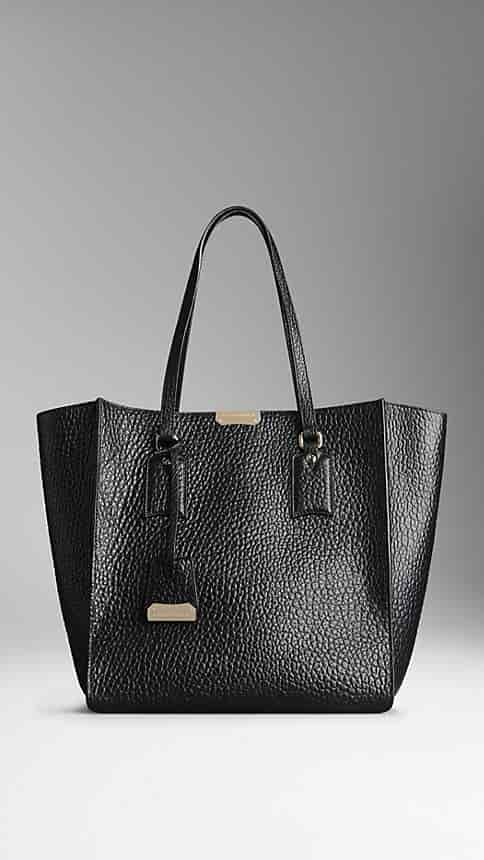 Buy Burberry Medium Signature Grain Leather Tote Bag Black  39040731 ... f359d40d6f