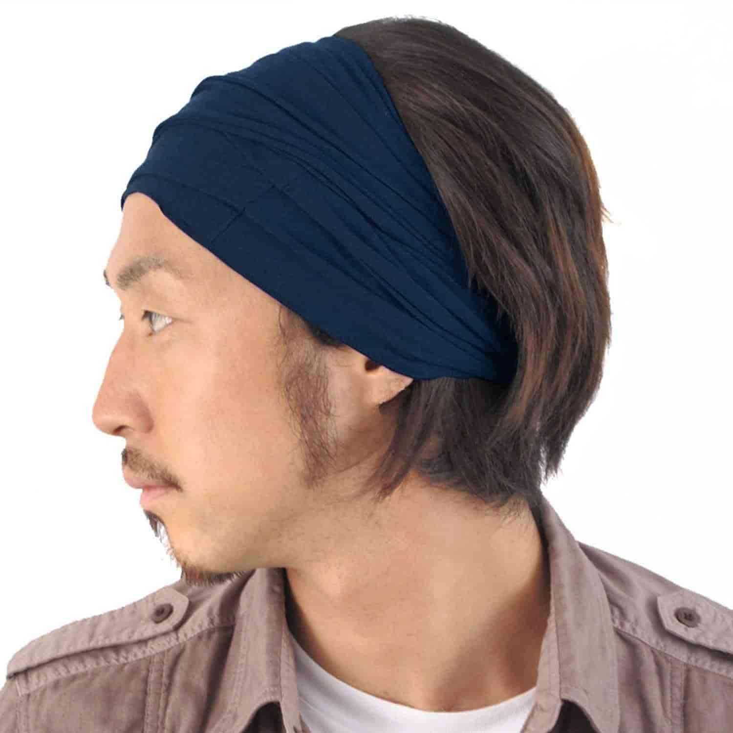 Buy Casualbox Mens Elastic Bandana Headband Japanese Long Hair Dreads Head Wrap Navy Features Price Reviews Online In India Justdial