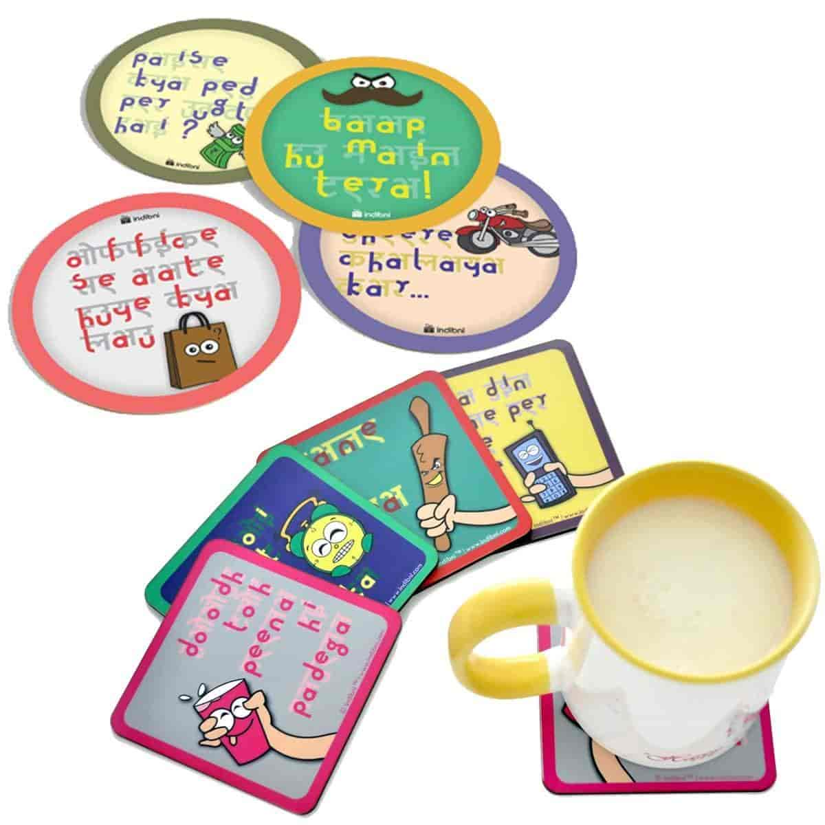 Coasters Mummy Papa Dialog Set Square Round Perfect Gift For Mom Dad Pas Everyday Birthday