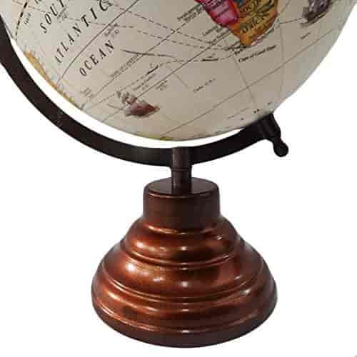 Buy decorative globe with brown frame world map 13 tall standing decorative globe with brown frame world map 13 tall standing beige ball 8 plastic globe handmade gumiabroncs Images