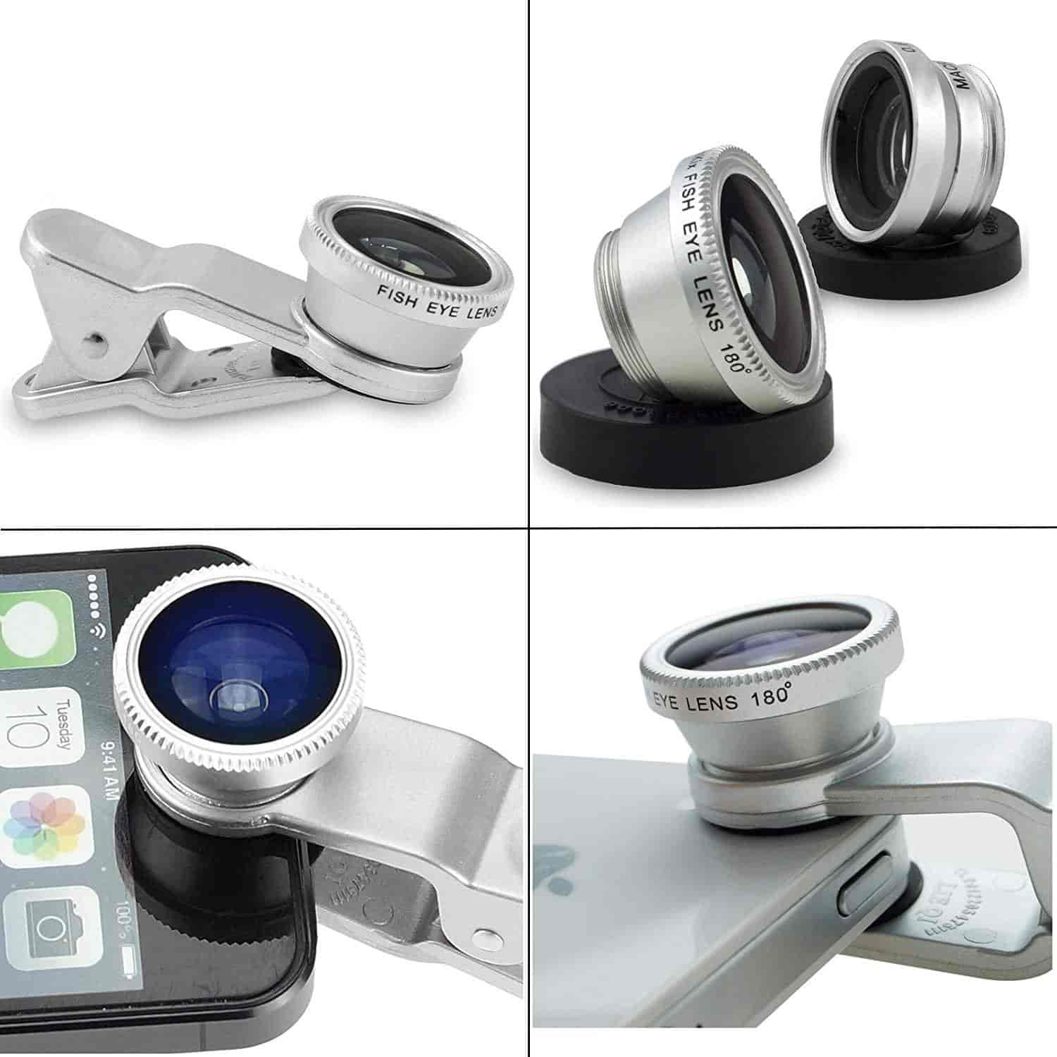 DMG Universal 3 in 1 Clip-On Mobile Cell Phone Camera Lens Kit, 180