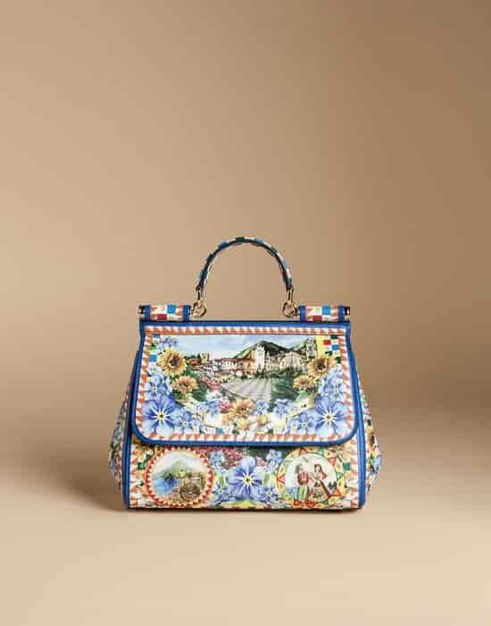 Dolce Gabbana Medium Sicily Bag In Printed Dauphine Leather Blue Bb6002ac6018e881