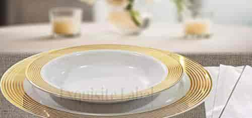 Exquisite Lablel White With Gold Heavyweight Plastic Elegant Disposable Plates Wedding Party Dinnerware