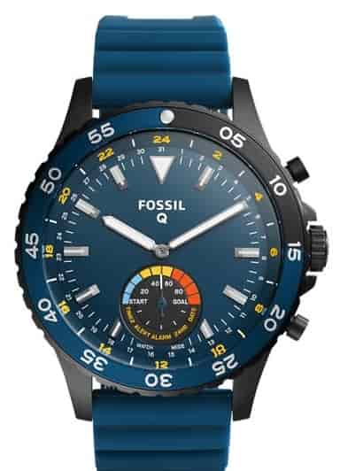 Fossil Unisex Fossil Q Crewmaster Blue Silicone Hybrid Smart Watch Ftw1125p