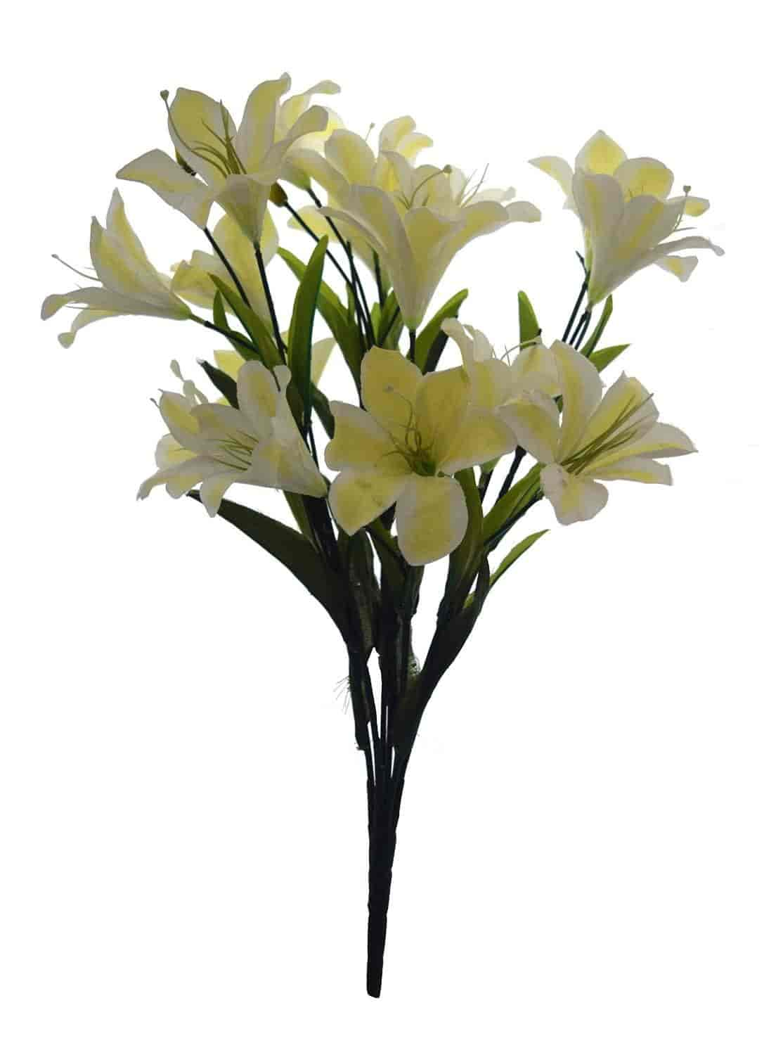 Buy Fourwalls Synthetic Fabric Artificial Lily Flower Bunch 21